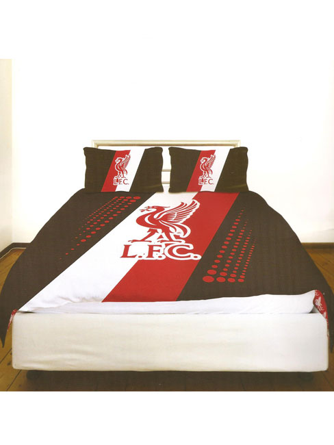 Liverpool FC Stripe Crest Double Duvet Cover & Pillowcase Set