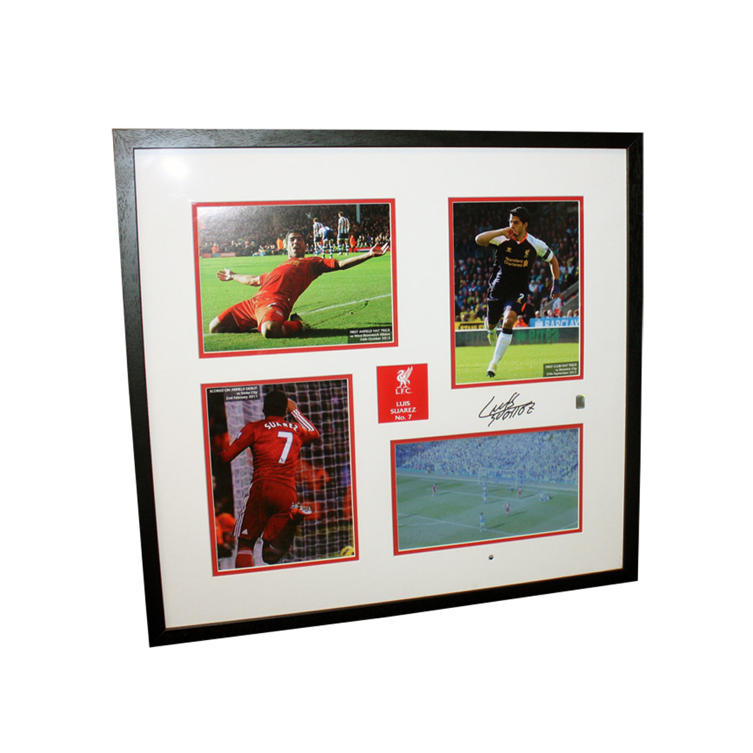 Luis Suarez Signed Liverpool Mount in Official Liverpool FC Video Frame