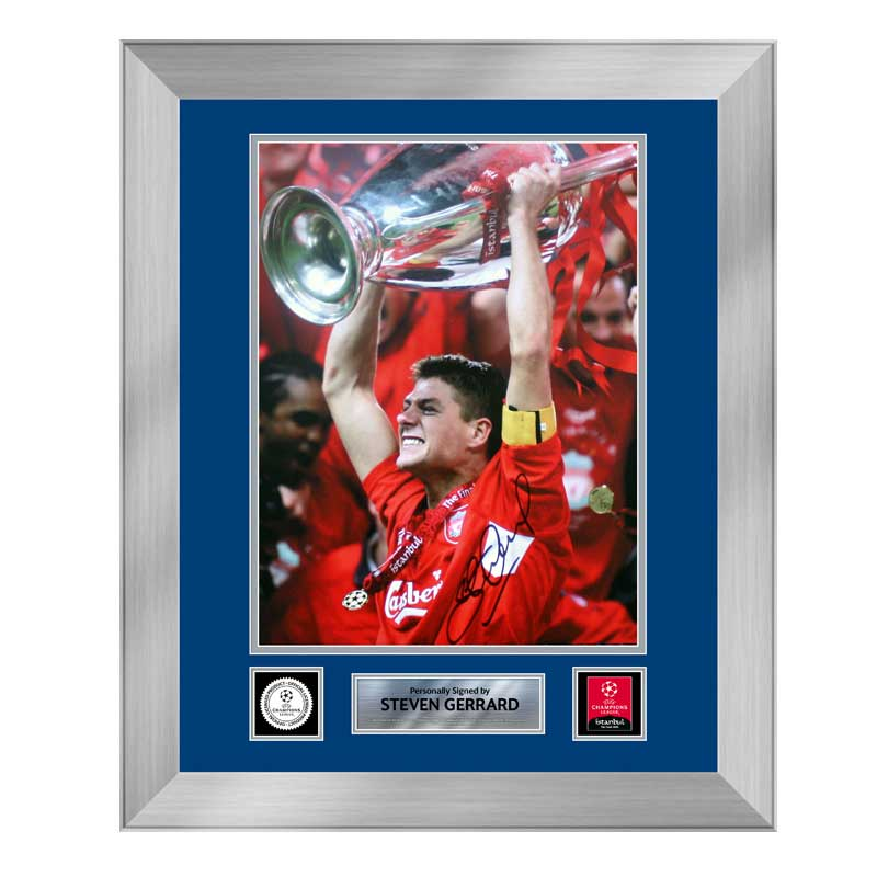 Official UEFA Champions League Steven Gerrard Signed and Framed Liverpool Photo: 2005 Final