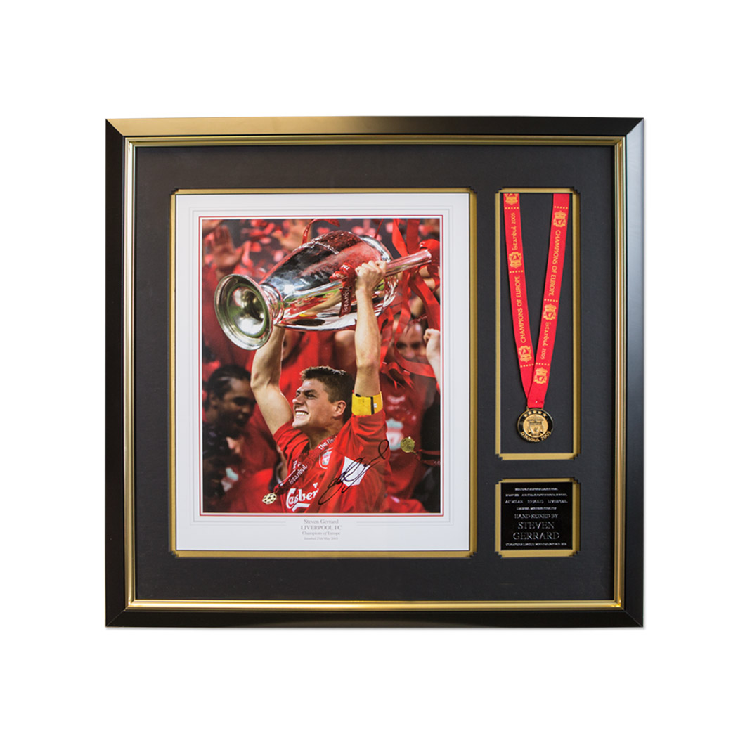 Steven Gerrard Signed Liverpool Photo Framed with Istanbul Winners Medal