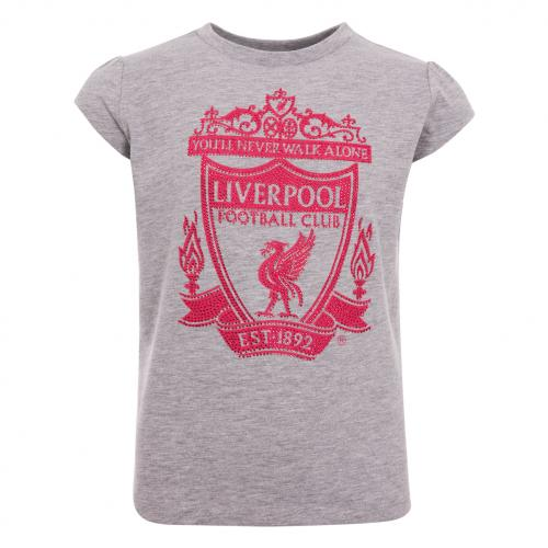 LFC Girls Grey Diamante Crest Tee