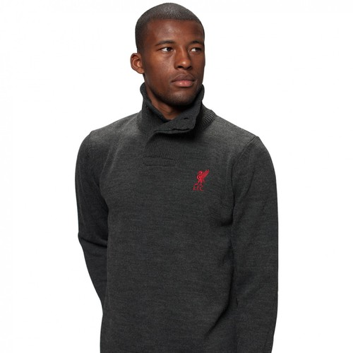 LFC Mens Charcoal Acrylic Funnel Neck Knit