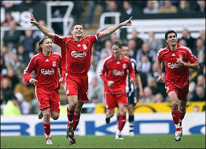Steven Gerrard scores against Newcastle