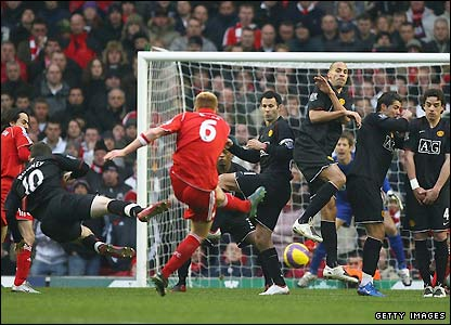 Riise shot against United