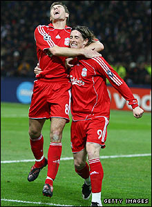 Gerrard and Torres celebrate against Inter Milan