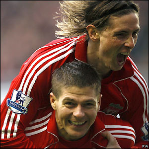 Torres and Gerrard celebrate against Newcastle