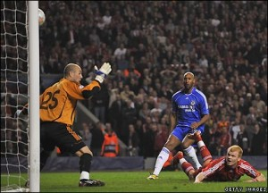 Riise scores an own goal against Chelsea