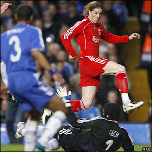 Torres chance against Chelsea