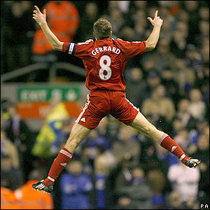Gerrard celebrations against Everton FA Cup