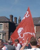 Sami Hyypia flag before the game