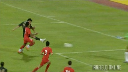 Riera scores against Singapore