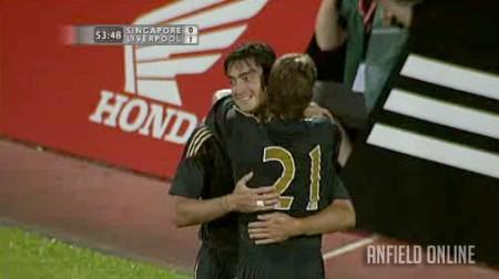 Riera celebrates his goal