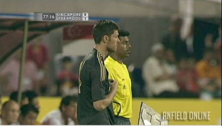 Xabi Alonso comes on against Singapore