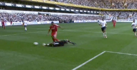 Glen Johnson brought down in the penalty box