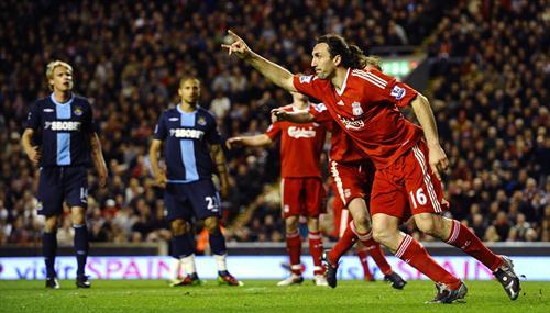 Kyrgiakos celebrates the third against West Ham [PicA]