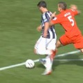 Referee Phil Dowd sent Daniel Agger off and awarded a penalty for pushing