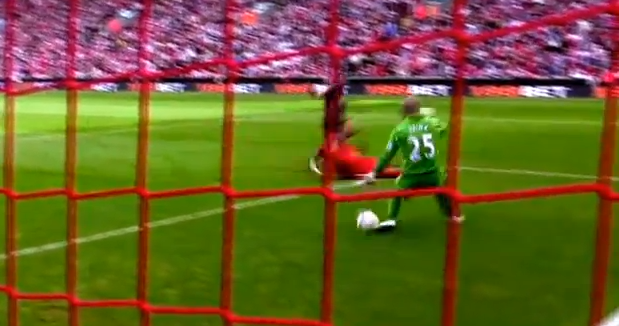 Pepe Reina was easily beaten by Podolski's opener