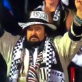 Udinese supporter celebrates his teams victory