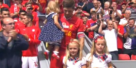Gerrard makes his way on to the pitch