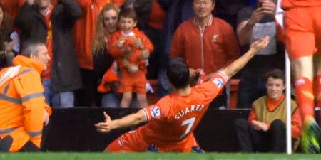 Suarez celebrates on his Anfield return
