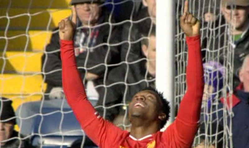 Sturridge celebrates goal against West Brom