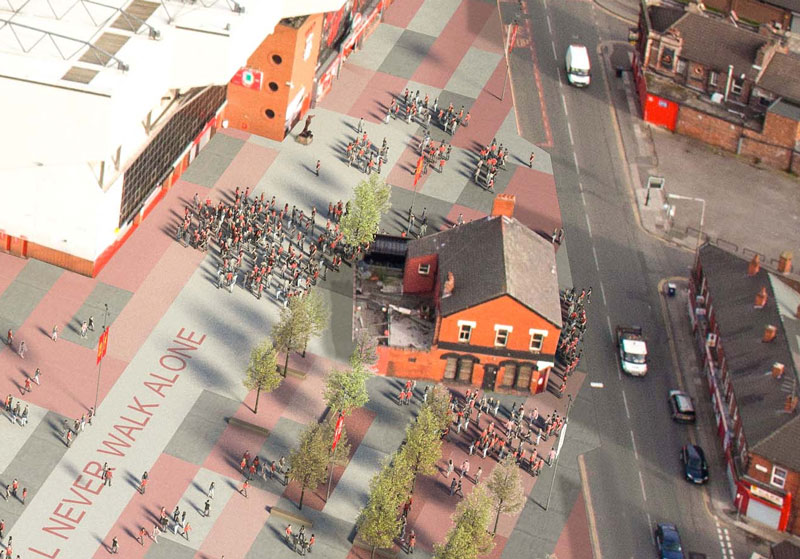 Shanky Statue and The Albert Pub - New Anfield plans