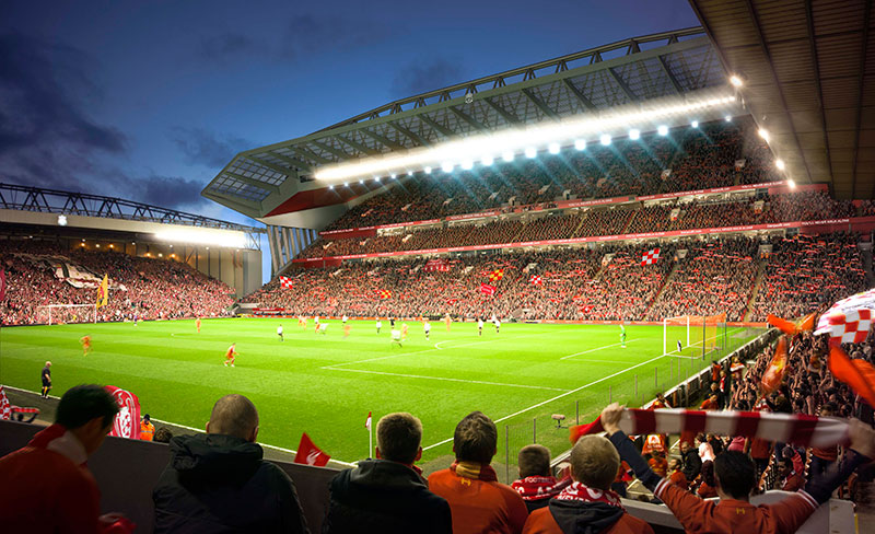 New Main Stand at Anfield - view from the corner of the Anfield Road