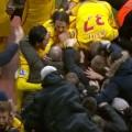 LFC players celebrate after Rickie Lambert's goal against Aston Villa