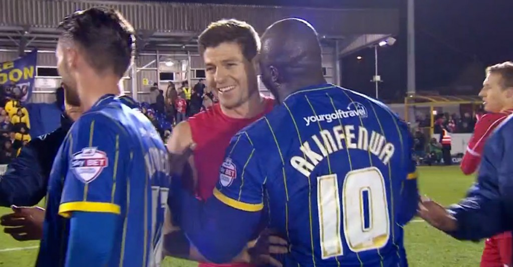 Gerrard scores two goals against AFC Wimbledon