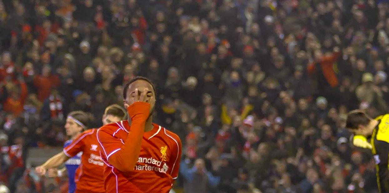 Raheem Sterling celebrates his semi final goal against Chelsea.