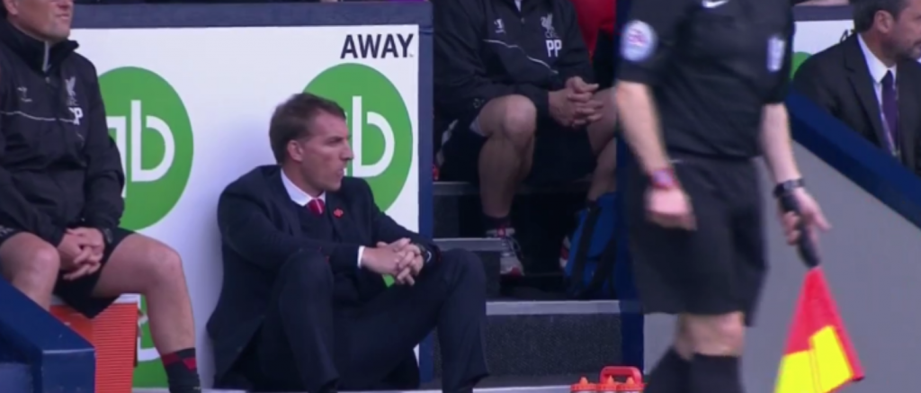 Brendan Rodgers watches on against West Brom