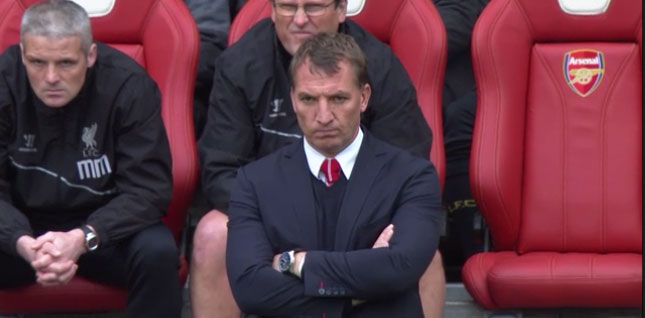 Brendan Rodgers watches on at the Emirates