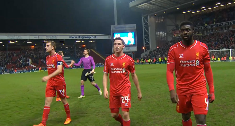 LFC players after the final whistle against Blackburn Rovers