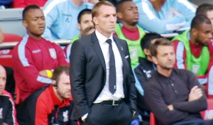 Brendan Rodgers watches on as LFC play Aston Villa