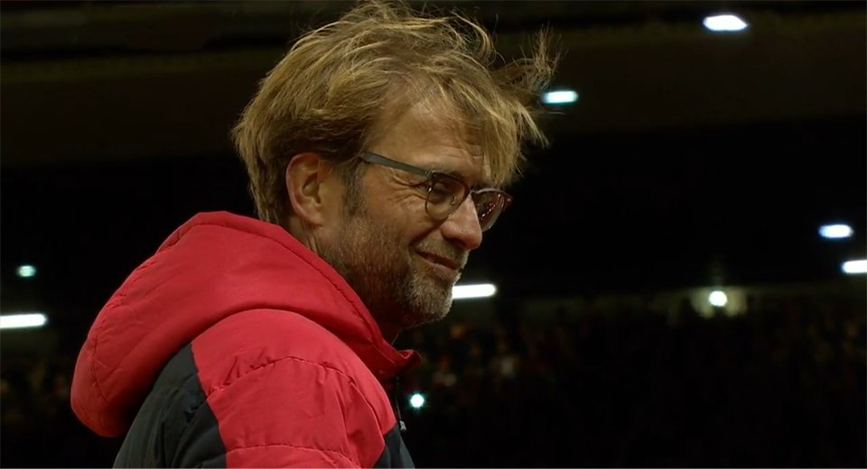 Klopp smiles after the Liverpool goal