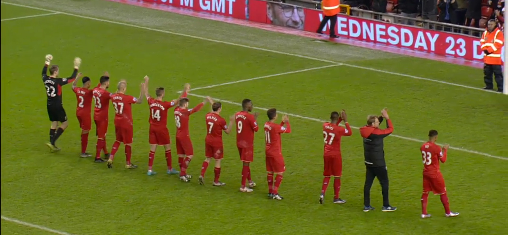 Klopp takes Liverpool players to The Kop after the game
