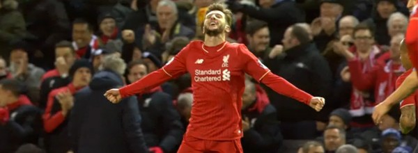 Adam Lallana scores against Man City