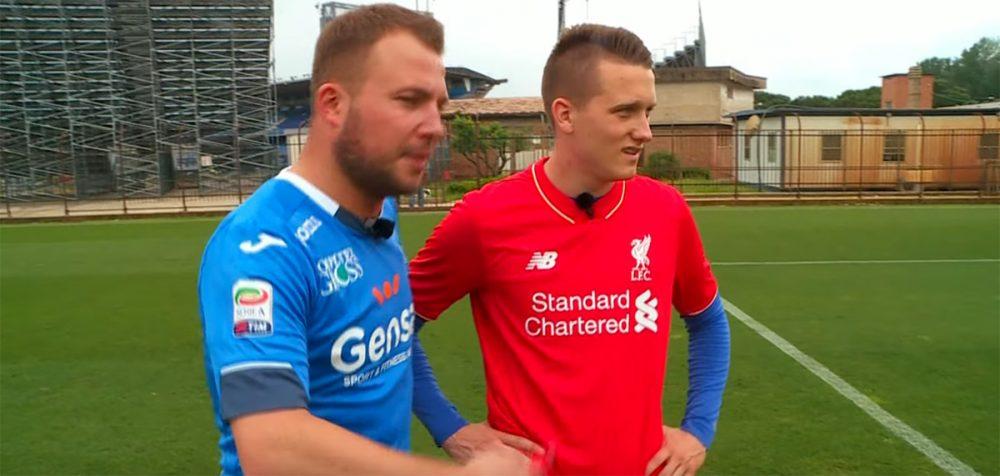 Piotr Zielinski wears a Liverpool shirt