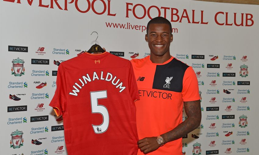 Georginio Wijnaldum signs in for Liverpool