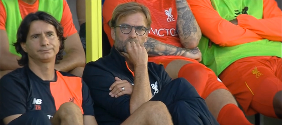 Liverpool boss watches on at Burton Albion