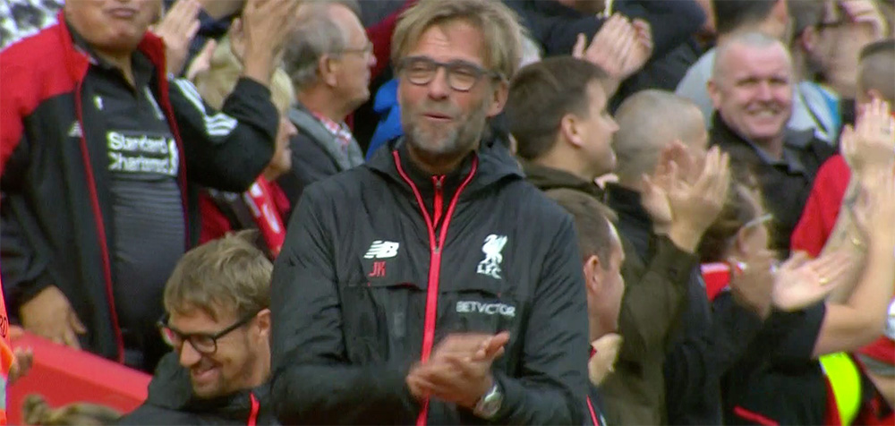 Jurgen Klopp enjoys the win over Hull at Anfield