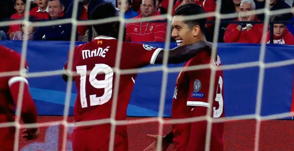 Firmino and Mane celebrate their goals