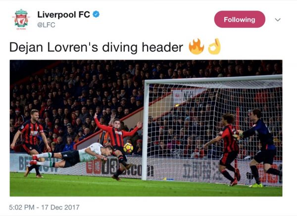 Lovren with his diving header