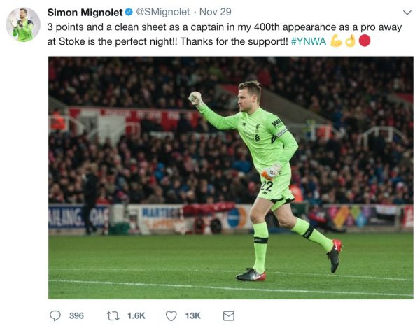 Mignolet 400th on Twitter