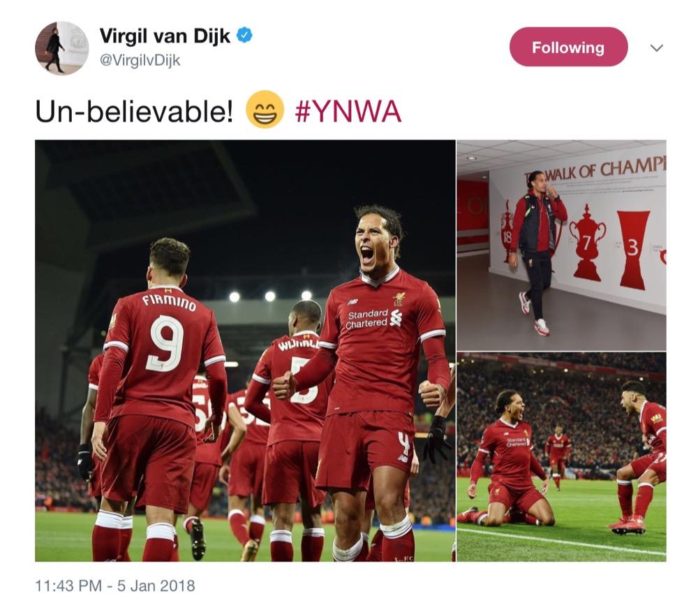 Virgil van Dijk derby reaction / Twitter