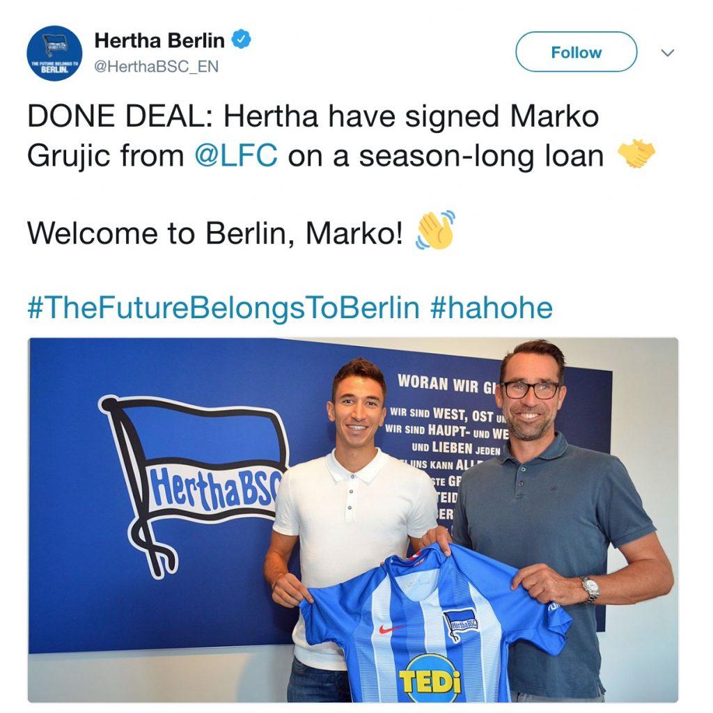 Grujic joins Hertha Berlin on loan