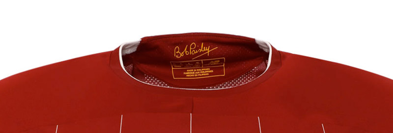 Bob Paisley's signature inside the new LFC home kit