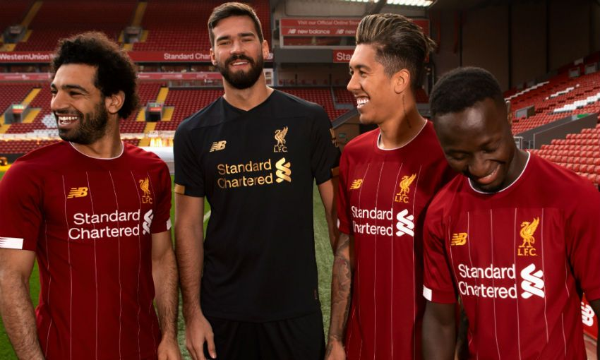 Salah, Alisson, Firmino and Mane model the new LFC kit