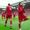 Salah celebrates his goal v Chelsea