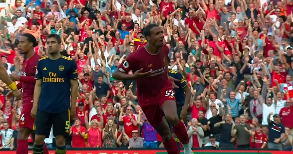 Joel Matip celebrates v Arsenal